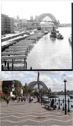 West Circular Quay with construction of pedestrian walkway in 1962 > 2015. [City of Sydney Archives /Kevin Sundgren. By Kevin Sundgren]