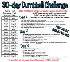 30-day Dumbbell Challenge Starting Today!! Get on the Dumbbell Train!  Share with your friends, Pin and get buff arms for Summer!