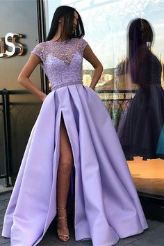 A Line Cap Sleeves Satin Prom Dress, Satin Graduation School Party Gown with Side Split N1455 #promdresses #promdresseslong #alinepromdress #satin