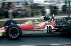 1968, XI United States Grand Prix. Watkins Glen. Amazing image of Mr Graham Hill and the fantastic Lotus 49B