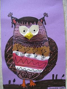 owls - egg cartons for eyes! Give the kids the eyes as a starting point for their drawings