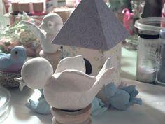 Pretty Is .: In the Studio . Paper Clay, Paper Mache, Candle Holders, Candles, Studio, Creative, Pretty, Birds, Art