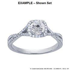 CC-30653     Platinum .50-Ct Round Semi-Mount Halo Ring Mounting                          CC-30653 by CedarCreekCanada on Etsy