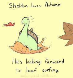 Sheldon the dinosaur leaf surfing