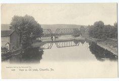 Titusville PA View on Oil Creek Bridge, 1905