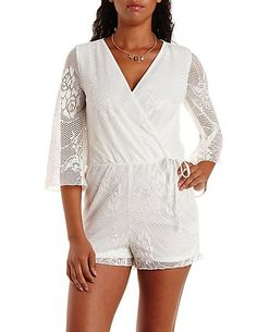 Bell Sleeve Netted Lace Wrap Romper: Charlotte Russe #romper #lace