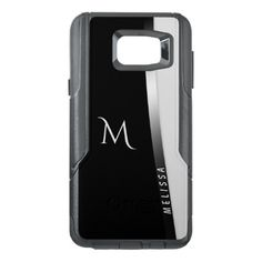 Elegant black white silver name and monogram OtterBox samsung note 5 case - elegant gifts gift ideas custom presents
