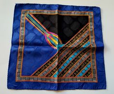 "USED BLUE /& YELLOW  GEOMETRIC  COTTON 18/""POCKET SQUARE HANDKERCHIEF SCRAF MEN"