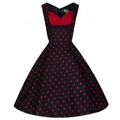 Black and Red Polka Dot Holiday Pin Up Dress