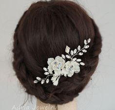 Crystal Hair Comb, Bridal Hair Combs, Flower Wedding Head Pieces, Something Blue, Bridal Fascinator, Floral Wedding Hair Accessories