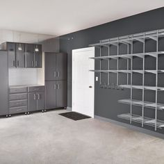 A neat garage is a happy garage. Give everything its own place with shelving and cabinets designed for the garage.  #Garage #GarageStorage #GarageShelves #GarageCabinets #GarageOrganization #HomeOrganization Garage Organization, Garage Storage, Garage Cabinets, Garage Doors, Wire Shelving, Shelves, Cabinet Design, Happy, Outdoor Decor