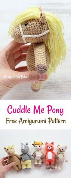 This crochet pony is another addition to our Cuddle Me Toy collection. Whether you use it as a cuddly toy or a playmate, Cuddle Me Pony will make many dreams come true for all young pony lovers. It will make a great gift :) Crochet Patterns Amigurumi, Crochet Yarn, Crochet Crafts, Crochet Dolls, Crochet Pony, Crochet Horse, Crochet Animals, Cute Crochet, Crochet Bookmarks