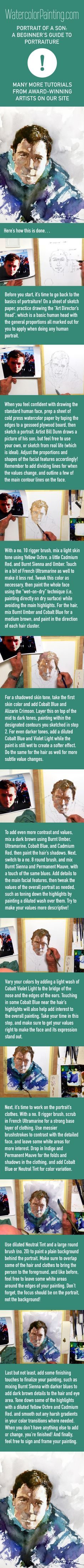 Tackle the popular subject of portraiture in this easy-to-follow lesson on portrait painting! Various beginner, intermediate & advanced watercolor techniques are taught step-by-step so you can follow along. #paintingideas Click here for free full tutorial: https://watercolorpainting.com/watercolor-portrait-beginners-guide/?utm_source=pinterest&utm_medium=pin-stepbystep&utm_campaign=pinterest-organic-footprint&utm_content=watercolor-portrait-beginners-guide