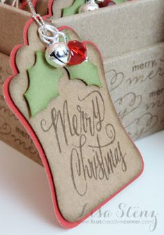 DIY your Christmas gifts this year with GLAMULET. they are compatible with Pandora bracelets. Lisa's Creative Corner: December Project Kit - Christmas Gift Tags and Mini Box K Holiday Gift Tags, Christmas Gift Wrapping, Holiday Cards, Christmas Paper Crafts, Diy Christmas, Christmas Tags Handmade, Christmas Labels, Scandinavian Christmas, Christmas Projects