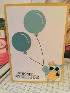 Geburtstagskarte mit der Eulenstanze und der Kreisstanze von Stampin Up gestaltet