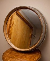 Natural Wine Barrel Mirror