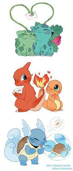 Valentine's Day, Bulbasaur, Ivysaur, Charmander, Charmeleon, Squirtle, Wartortle, cute; Pokemon