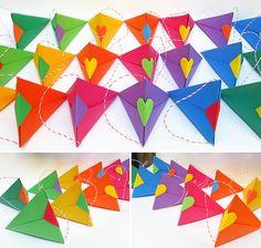 origami - cajas triangulares multicolor