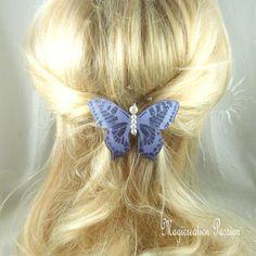 barrette française 6 cm papillon soie mauve pailleté, perles blanches,  collection Maéva, coiffure romantique, printemps, made in France