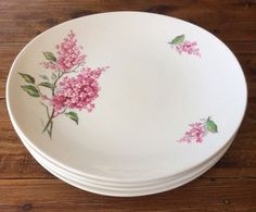 6 X Dinner Small Plates VINTAGE WOOD & SONS ENGLAND GORGEOUS PINK BLOSSOM FLOWER