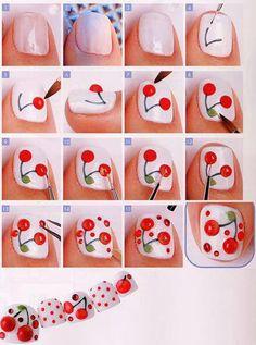 cherry Nail art tutorial DIY #cherries #rockabilly