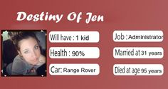 Check my results of What Is Your Destiny Facebook Fun App by clicking Visit Site button