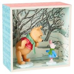 Winnie the Pooh and Piglet in Snow Shadow Box,