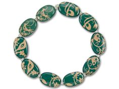 Teal with Cream Birds, Butterflies and Flowers Oval Bead Strand