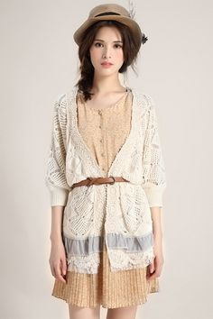 Lace Hem Medium Sleeve Cardigan  $106.00