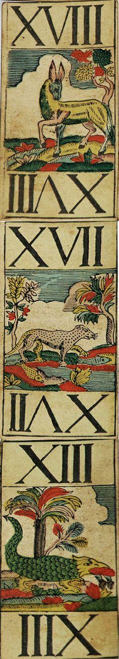 XVIII. XVII. XIII. Tarok cards, 1700s