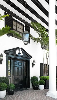 greige: interior design ideas and inspiration for the transitional home : Black entry doors