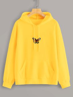 Shop Neon Yellow Butterfly Embroidery Drawstring Hoodie at ROMWE, discover more fashion styles online. Stylish Hoodies, Cool Hoodies, Diy Hoodies, Colorful Hoodies, Teen Fashion Outfits, Fashion Mode, Tomboy Outfits, Emo Outfits, Punk Fashion