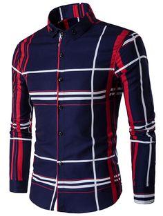 $19.78 Turndown Collar Color Block Linellae Print Long Sleeve Shirt