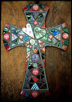 Mosaic Cross Large *Illusion by PrayingMantis MosaicMagik