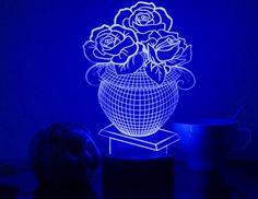 694-3d Potted Flower Roses Decor Colorful Light 3d Visualization Table Lamp Home Decor Night Lamp