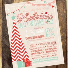 Holiday Craft Boutique - Craft Fair invitation - Vendor Show flyer - Christmas Market flyer - Church Bazaar flyer - PRINTABLE Flyer by Jalipeno Digital Art on Etsy. Check the shop for more printable flyers! Grand opening invitation - School boutique invitation - Sweet Christmas party printable invitation coral and teal
