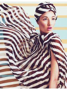black and white stripe fashion editorial