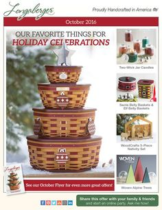 """It's the start of the Holiday Season at Longaberger – see our full line of entertaining and gift-giving products! Don't miss the 2016 Tree Trimming Generations Basket, only available in October In honor of Breast Cancer Awareness Month, we're offering our 2016 Horizon of Hope in Whitewashed and Pink through October 31st Too cute to miss – a """"little"""" something special for you and yours, oh Santa (Belly)! Visit my Longaberger website to order today http://shopus.longaberger.com/heidianhalt"""