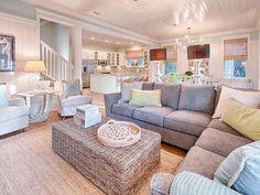 House of Turquoise: Mint Julep - WaterColor, Florida - love the open layout Coastal Cottage, Coastal Decor, Coastal Farmhouse, Coastal Homes, Cottage Rugs, Coastal Lighting, Modern Cottage, Beach Homes, Cottage House