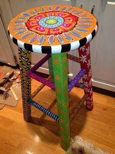 hand painted barstool by TheFancyFig on Etsy