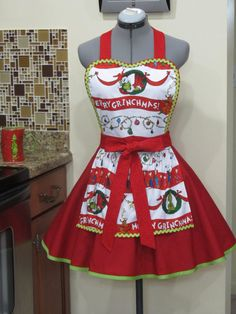 Merry Grinchmas Flirty Grinch Apron Only One by AquamarCouture