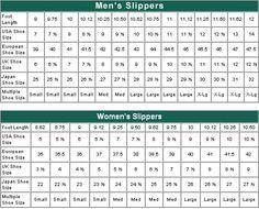 crochet bootie size chart | Women's Slipper Size Chart | Sizing Chart.