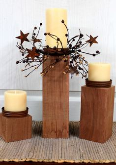 Primitive Decor Country Candle Holders Outdoor by FloralsFromHome, $85.00