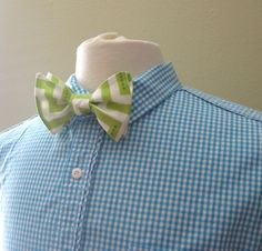 Lime Green  and White Chevron Freestyle Bow by PillowTalkbyShanna, $25.00