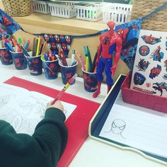 Want to get the boys writing? Just add Spider-Man to the writing table. Writing Area, Writing Station, Writing Table, Eyfs Activities, Activities For Boys, Writing Activities, Mark Making Early Years, Eyfs Classroom, Maths Eyfs