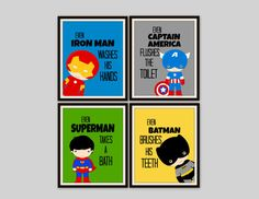 superhero bathroom sets. Superhero Bathroom Prints Set of 4 by SimplyLoveCreations on Etsy Very Cool Decor  http life petwatchclub com