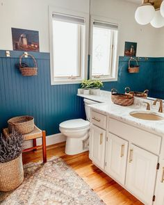 Hi, hi! Do you remember my mom's 1989 powder room we transformed from top to bottom in 7 days? I was so excited to come back this summer and actually enjoy it! We literally finished this space the night before we left for CA last winter. Small Space Office, Small Space Living, White Oak Wood, Casual Decor, Eclectic Bathroom, Ikea Cabinets, Shaker Style, Beach House Decor, Home Accents