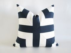 Pillow Cover Navy Blue White Mitered Cross Stripes Indoor Outdoor by UppNorthCo on Etsy https://www.etsy.com/listing/231622813/pillow-cover-navy-blue-white-mitered