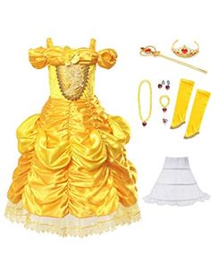Muababy Girl Dress Belle Costume Party Cosplay Dress up with accessories and petticoat Years, Yellow with Petticoat) Princess Costumes For Girls, Girls Mermaid Costume, Disney Princess Toys, Princess Dress Up, Disney Princess Dresses, Girl Costumes, Little Girl Toys, Toys For Girls, Glow In Dark Party