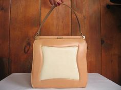 efb18da4519fd Tan and Creme Leather 1950's-1960's Handbag Bags by MARQUISE Mad Men  Rockabilly Audrey Hepburn
